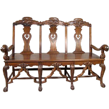 Indo-Portuguese Rosewood Three-Seat Settee