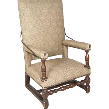 French Louis XIII Style Walnut Cremaillere Armchair
