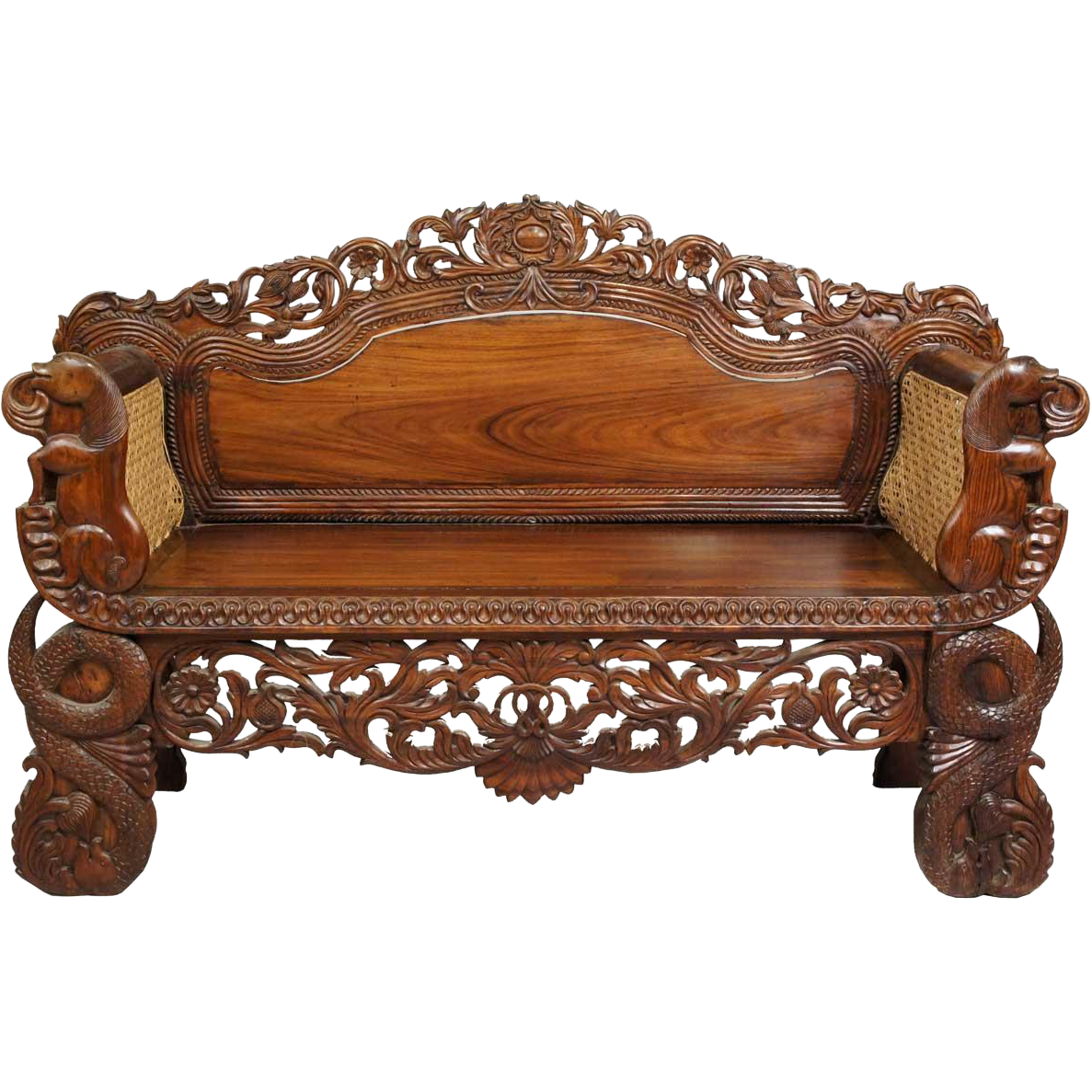 Settee Sofa Furniture Prices In India: Anglo Indian Burmese Caned Rosewood Settee From Eron