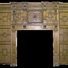 English Tudor Broke Hall Paneled Room, Stained Glass Windows and Fireplace Surround