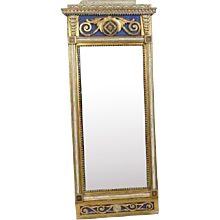 Swedish Gustavian Gilt and Painted Pier Mirror