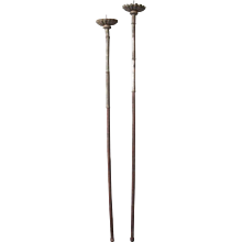 Two Similar Indo-Portuguese Baroque Silver Processional Candlesticks