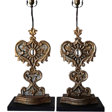 Pair of Antique  Hand Carved and Gilt Indo-Portuguese Teak Reliquaries Now Mounted as Table Lamps