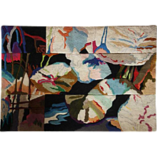 Vintage ROBERT LYNN CRANFORD Wool 3-Panel Tapestry, Fragmented Lily Pond