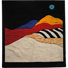 Vintage ROBERT LYNN CRANFORD Hand Woven Wool Tapestry, Black Night