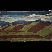 Vintage American Hand Woven Wool Tapestry or Rug, Plowed Fields