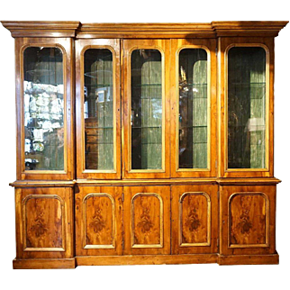 Large English Pine and Yew Wood Veneer Glazed Door Bookcase