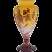 French EMILE GALLE Art Nouveau Cameo Bud Vase