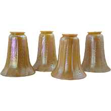 Set of Four American Durand Art Glass Gold Lamp Shades