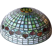 American Tiffany Studios Green Shade Leaded Glass Acorn Lamp Shade
