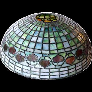 American Tiffany Studios Green Shade Leaded Glass Acorn Lamp Shade