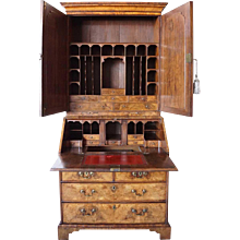English Queen Anne Burl Walnut and Oak Secretary Bookcase