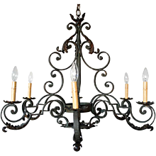 French Provincial Wrought Iron Six-Light Chandelier
