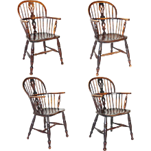 Assembled Set of Four English Windsor Armchairs
