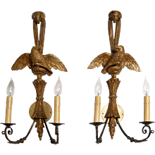 Pair of American Federal Style Gilt Eagle Two-Light Sconces