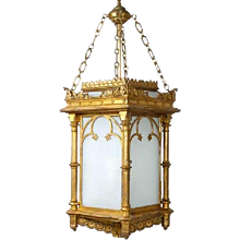 English Gothic Revival Gilt and Zinc Hanging Hall Lantern