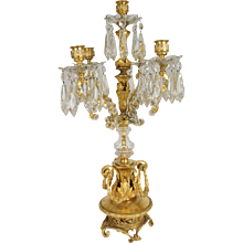 French Louis XVI Style Gilt Bronze and Crystal Five-Light Candelabrum
