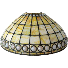 Antique Signed Tiffany Studios Favrile Glass Geometric and Jeweled Table Lamp Shade