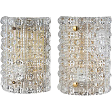 Pair of Swedish CARL FAGERLUND for Orrefors Glass Wall Sconces