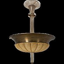 Swedish Art Deco Bronze and Cut Glass Six-Light Pendant Ceiling Light