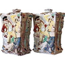 Pair of Italian  Faience Glazed Terra Cotta Lamp Bases Signed by Eugenio Pattarino
