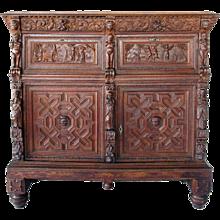 Flemish Baroque Carved Oak Sideboard Cabinet