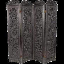 Chinese Ebonized Hardwood Four-Panel Screen