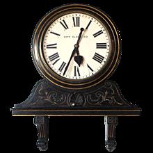 English Victorian City Clock Co. London Ebonized School or Railway Bracket Clock