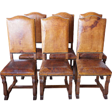 Set of 6 French Louis XIII Style Leather and Oak Dining Chairs