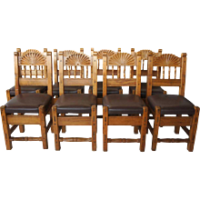 Set of Eight New Mexican Taos Indian School Dining Chairs