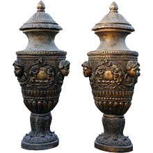 Pair of Large Neo-classical Bronze Lidded Garden Urns