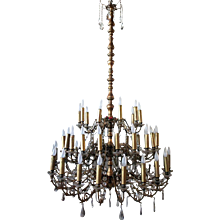 Large French Three-Tier Brass and Crystal 50-Light Chandelier