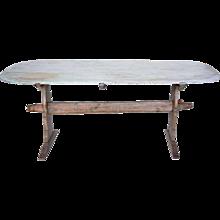 Swedish Painted Pine Trestle Dining Table