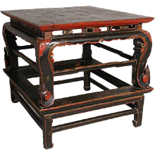 Chinese Lacquered Elm Square Table