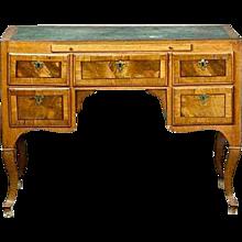 Danish Rococo Burled Walnut Kneehole Desk