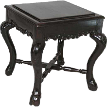 Small Indian Goan Square Rosewood Side Table / Stool