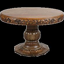 Swedish Jugendstil Copper Clad Oak Tavern Pedestal Table