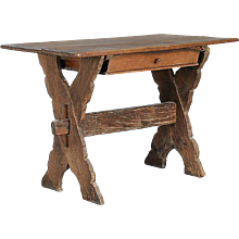 Small Danish Baroque Oak Trestle Table