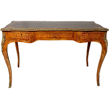 French Louis XV Style Walnut Marquetry Leather Top Bureau Plat