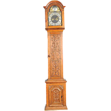 Antique Danish Christian Due Hand Carved Oak Grandfather Clock