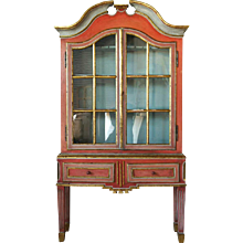 Scandinavian Gustavian Painted Display Cabinet on Stand