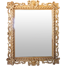 Italian Rococo Style Hand Carved Pine Mirror