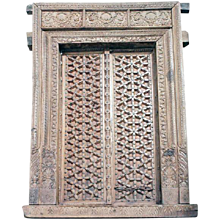Antique Indian Rajasthani Carved Teak Double Doorway and Frame