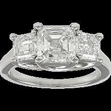 3.47 Carats Three Asscher Cut Diamond Platinum Engagement Ring