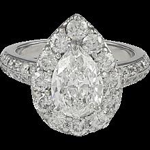 1.57ct Pear Shape Diamond Platinum Ring