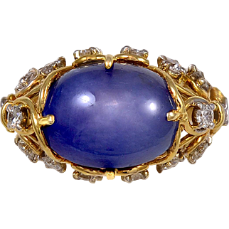 Cartier Star Sapphire and Diamond Gold Ring
