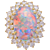 Cabochon Natural Lightning Ridge Opal Diamond Gold Cocktail Ring