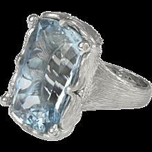 32.92ct Cushion Shape Aquamarine Diamond and White Gold Ring