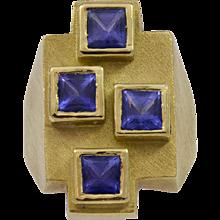 Bruno Guidi Square Cut Tanzanite Gold Ring