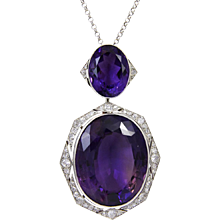 Art Deco Amethyst Diamond Pendant Necklace